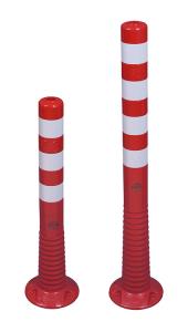 Absperrpfosten -Elasto Red- Ø 80 mm, überfahrbar mit retroreflektierenden Streifen (Höhe: 750 mm (Art.Nr.: 37871))
