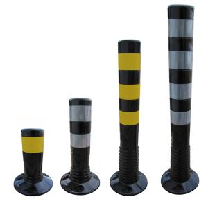 Absperrpfosten -Elasto Schwarz- Ø 80 mm, überfahrbar mit retroreflektierenden Streifen - 300, 450, 750 oder 1000 mm