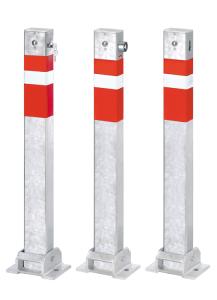 Absperrpfosten -Steel Line- 100 x 60 mm aus Stahl, zum Aufdübeln, umlegbar