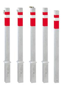 Absperrpfosten -Steel Line- 70 x 70 mm, Stahl, zum Einbetonieren, herausnehmbar oder feststehend