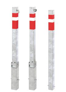 Absperrpfosten -Steel Line- 70 x 70 mm, Stahl, zum Einbetonieren, umleg- / herausnehmbar oder fest