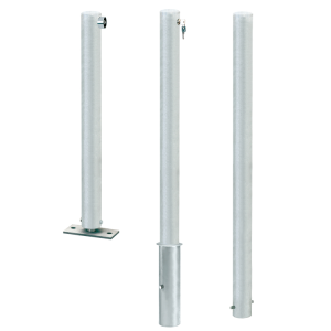 Absperrpfosten -Steel Line Cityring- Ø 76 mm aus Stahl, umleg- o. herausnehmbar o. feststehend