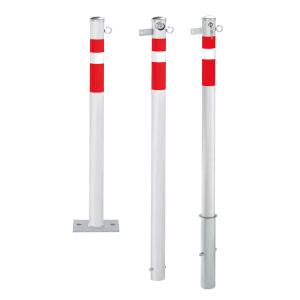 Absperrpfosten -Steel Line- Ø64mm, Stahl, herausnehmbar o. feststehend, optionales Kettenschloss (Varianten: mit  <b>Kettenschloss und Sicherheitsschloss</b><br>gleichschließend<br>Schließung oben, zum Aufdübeln<br>inkl. 2 Schlü