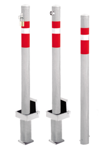 Absperrpfosten -Steel Line- Ø 76 mm aus Stahl, zum Einbetonieren, herausnehmbar oder feststehend