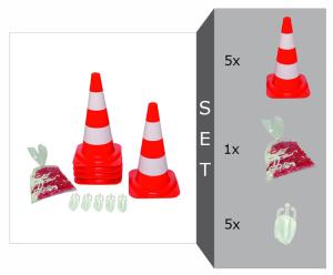 Absperrsystem Komplett-Set inkl. 5 Leitkegel (rot-weiß), Absperrkette (10 m) und Kettenhaken (Leitkegelhöhe/Leitkegelgewicht: 500 mm / 1,7 kg (Art.Nr.: 36975))