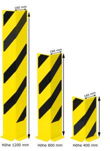 Anfahrschutz -Mountain- aus Stahl, 90° Winkel, nach BGR 234 und DIN 4844 (Höhe/Materialstärke:  <b>400 mm</b> / 5 mm (Art.Nr.: 37461))