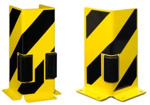 Anfahrschutz aus Stahl, mit Leitrollen, gelb / schwarz, Höhe 400 mm (Modell: Winkel mit 1 Leitrolle (Art.Nr.: 15090))