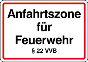 Anfahrtszone für Feuerwehr §22 VVB (Ausführung: Anfahrtszone für Feuerwehr  (Art.Nr.: 28.6))