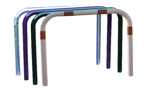 Anlehnbügel / Absperrbügel -Usedom- aus Stahl, Ø 76 mm, Gesamthöhe 1150 mm, zum Aufdübeln, ohne Farbe, weiß / rot oder nach RAL