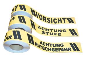 Antirutsch-Bodenmarkierungsband m2 mit Warntext, 75 mm x 18,3 m (Beschriftung: Achtung Rutschgefahr (Art.Nr.: 90.1481))