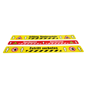 Antirutsch-Bodenmarkierungsstück -WT-5415-, bedruckt, Länge 600 mm, Breite 75 mm, VPE 5 Stk. (Aufdruck/Farbe:  <b>ohne Aufdruck</b><br>gelb-schwarz linksweisend /<br>VPE 5 Stück (Art.Nr.: 33969))