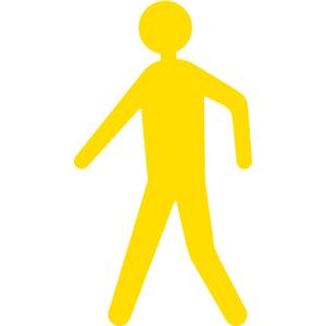Antirutsch-Piktogramm Fußgänger -WT-5811-, retroreflektierend und rutschhemmend, 350 x 600 mm (Farbe: gelb (Art.Nr.: 23384))