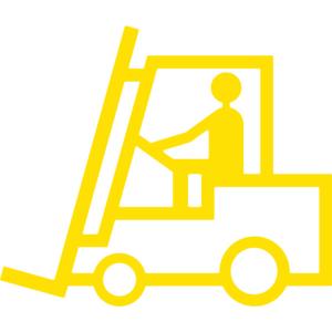 Antirutsch-Piktogramm Gabelstapler -WT-5811-, retroreflektierend und rutschhemmend, 473 x 400 mm (Farbe: gelb (Art.Nr.: 23382))