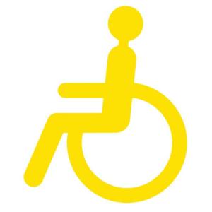 Antirutsch-Piktogramm Rollstuhlfahrer -WT-5811-, retroreflektierend und rutschhemmend, 300x250 mm (Farbe: gelb (Art.Nr.: 23388))