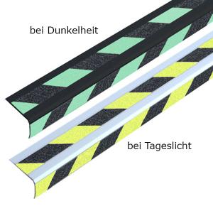 Antirutsch-Treppenkantenprofil -Universal Double-, Rutschhemmung R13, zum Schrauben oder Kleben (Montage/Farbe Antirutschbelag: zum Verschrauben /  <b>schwarz-gelb</b> (Art.Nr.: dm3038))