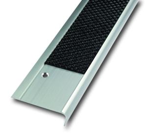 Antirutsch-Treppenkantenprofil aus Aluminium, einreihig (Farbe Antirutschbelag: schwarz (Art.Nr.: 36024))