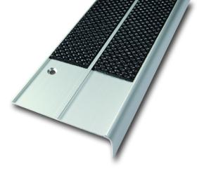 Antirutsch-Treppenkantenprofil aus Aluminium, zweireihig (Farbe Antirutschbelag: schwarz (Art.Nr.: 36026))