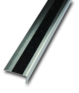 Antirutsch-Treppenkantenprofil aus Edelstahl, Rutschhemmung R13, einreihig