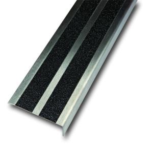 Antirutsch-Treppenkantenprofil aus Edelstahl, Rutschhemmung R13, zweireihig