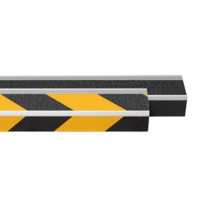 Antirutsch-Treppenprofil -Easy Clean-, R11 nach ASR A1.5 / 1,2, zum Schrauben oder Kleben (Farbe Antirutschbelag/Befestigung:  <b>schwarz-gelb</b><br>zum Aufschrauben<br>inkl. Schrauben und Dübeln (Art.Nr.: 40411))