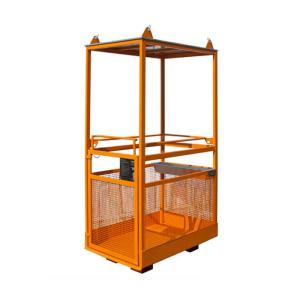 Arbeitsbühne -Typ MB-K-IV- aus Stahl, mit Dach und Vierstrangkette (Farbe/Gewicht: RAL 2000 gelborange / 170 kg (Art.Nr.: 38384))