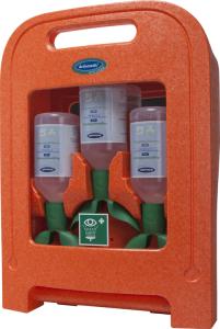 Augenspülstation -Actiomedic® EYECARE twin-, zur Wandmontage oder für den mobilen Einsatz (Inhalt: 3x 500 ml Natriumchloridlösung, 0,9% (Art.Nr.: 34920))