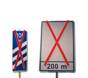 Auskreuzung Typ 2, für Verkehrszeichen Größe 3, Folientyp RA3 (Länge:  <b>750 mm</b><br>(z.B. Ronde Ø 750 mm,<br>Dreiecke SL 1260 mm) (Art.Nr.: 34018))
