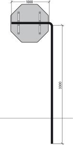 Ausleger-Rohrpfosten mit Standrohr (Ausl./Standr. (SR)/Bodenfr. (BF)/Querpf. (QP)/Unterflur (UF):  <b>500mm</b><br>SR 3100mm/BF 2200mm (Art.Nr.: alp3603))