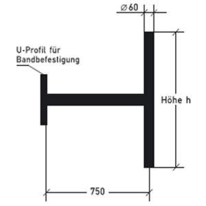 Ausleger für Bandbefestigung (Modell: mit Querpfosten/Höhe 600mm (Art.Nr.: alpbh060))