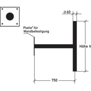 Ausleger für Wandbefestigung (Modell: ohne Querpfosten/Breite 700mm (Art.Nr.: alpwb070))