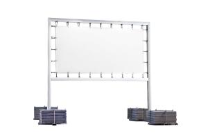Bannerrahmen -Brilliant- aus Aluminium, mobil (Rahmengröße/Bannergröße bei Hakenbefestigung:  <b>Rahmen 2000 x 2000 mm</b><br>für Banner 1652 x 1652 mm (Art.Nr.: 36087))