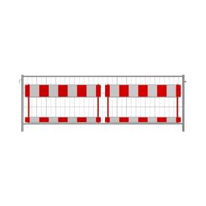 Bau-Schrankenzaun nach TL, Höhe 1,20 m, MW 300 / 70, Standrohre Ø 42,4 mm, mit 2 Absperrschranken (Folie:  <b>Folie RA2/B</b>, rot/weiß<br>entspricht der ZTV-SA (Art.Nr.: 3b1236htl2))