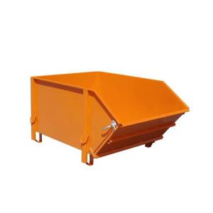 Baustoff-Behälter -Typ BBK 100-, aus glattem Stahlblech, mit klappbarer Schüttwand (Farbe: RAL 2000 gelborange (Art.Nr.: 38803))