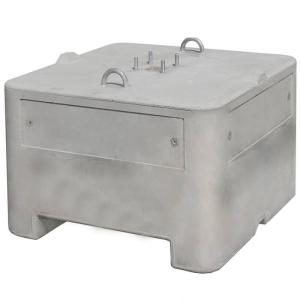 Beton-Aufstellvorrichtung, 600 oder 1000 kg, mit Vierkantloch 60 x 60 mm (Gewicht/ Maße (HxBxT):  <b>600 kg</b>/ 490x800x800 mm (Art.Nr.: 3f120))