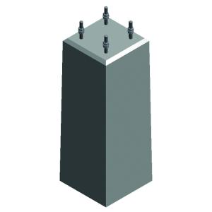 Betonsockelstein mit eingelassenem Ankerkorb MSK1 416 (Für Ø/Maße/Gewicht: Für Ø 60 mm<br>300 x 340 x 800 mm<br>185 kg (Art.Nr.: m3003038))