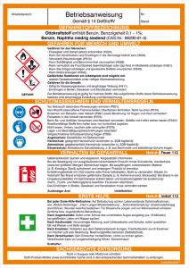 Betriebsanweisung Ottokraftstoff / Benzin (Ausführung: Betriebsanweisung Ottokraftstoff/Benzin (Art.Nr.: 43.b2010))