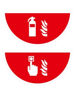 Boden-Sicherheitskennzeichen -Brandschutz- aus PVC, selbstklebend, Rutschkl. R11, Halbkreis (Symbol/Maße (BxL): Feuerlöscher /  <b>750 x 375 mm</b> (Art.Nr.: 39575))