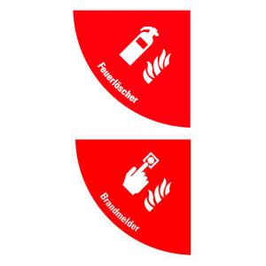 Boden-Sicherheitskennzeichen -Brandschutz- aus PVC, selbstklebend, Rutschkl. R11, Viertelkreis (Symbol/Maße (BxL): Feuerlöscher /  <b>750x750 mm</b> (Art.Nr.: 39774))