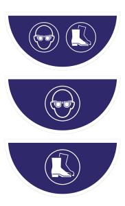 Boden-Sicherheitskennzeichen -Gebotsschild- aus Folie, selbstklebend, Rutschkl. R10, Halbkreis (Symbol/Maße (BxL): Augen- und Fußschutz /  <b>750x375 mm</b> (Art.Nr.: 39768))