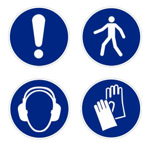 Boden-Sicherheitskennzeichen -Gebotszeichen Indoor- aus PVC, R11, selbstklebend, nach ASR A1.3