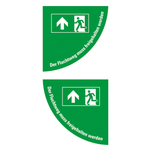 Boden-Sicherheitskennzeichen -Rettungsschild- aus Folie, selbstkleb., Rutschkl. R10, Viertelkreis (Symbol/Maße (BxL): Rettungsweg Tür links /  <b>750x750 mm</b> (Art.Nr.: 39786))