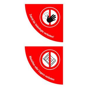 Boden-Sicherheitskennzeichen -Verbotsschild- aus Folie, selbstklebend, Rutschkl. R10, Viertelkreis (Symbol/Maße (BxL): Zutritt verboten /  <b>750x750 mm</b> (Art.Nr.: 39794))