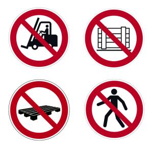 Boden-Sicherheitskennzeichen -Verbotszeichen Outdoor- aus PVC, R11, selbstkl., auch nach ASR A1.3