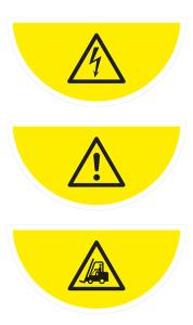 Boden-Sicherheitskennzeichen -Warnschild- aus Folie, selbstklebend, Rutschkl. R10, Halbkreis (Symbol/Maße (BxL): Warnung vor Spannung /  <b>750x375 mm</b> (Art.Nr.: 39762))