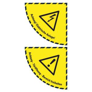 Boden-Sicherheitskennzeichen -Warnschild- aus Folie, selbstklebend, Rutschkl. R10, Viertelkreis (Symbol/Maße (BxL): Warnung vor Spannung /  <b>750x750 mm</b> (Art.Nr.: 39802))