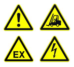 Boden-Sicherheitskennzeichen -Warnzeichen Indoor- aus PC, selbstklebend, nach ASR A1.3
