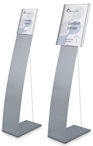 Bodenaufsteller mit Spannseil und Infotafel -Atlantic- DIN A3 oder DIN A4 (Format Infotafel/Breite:  <b>DIN A4</b>/249mm (Art.Nr.: at1640))