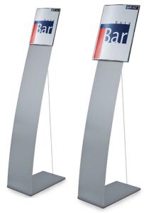 Bodenaufsteller mit Spannseil und Infotafel -Ocean- DIN A3 oder DIN A4 (Format Infotafel/Breite:  <b>DIN A4</b>/215mm (Art.Nr.: oc1640))