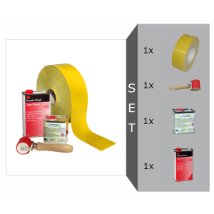Bodenmarkierungsband -ExtremG- Komplett-Set, glatt, inkl. Andruckrolle, Grundreiniger, Primer