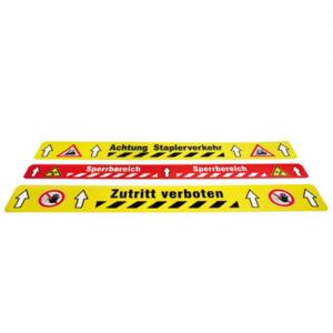 Bodenmarkierungsstück -WT-5125-, bedruckt, L 600mm, B 50mm, überfahrbar und kratzfest, VPE 5 Stk. (Aufdruck/Farbe/Menge:  <b>ohne Aufdruck</b><br>gelb-schwarz linksweisend / VPE 5 Stk. (Art.Nr.: 33921))